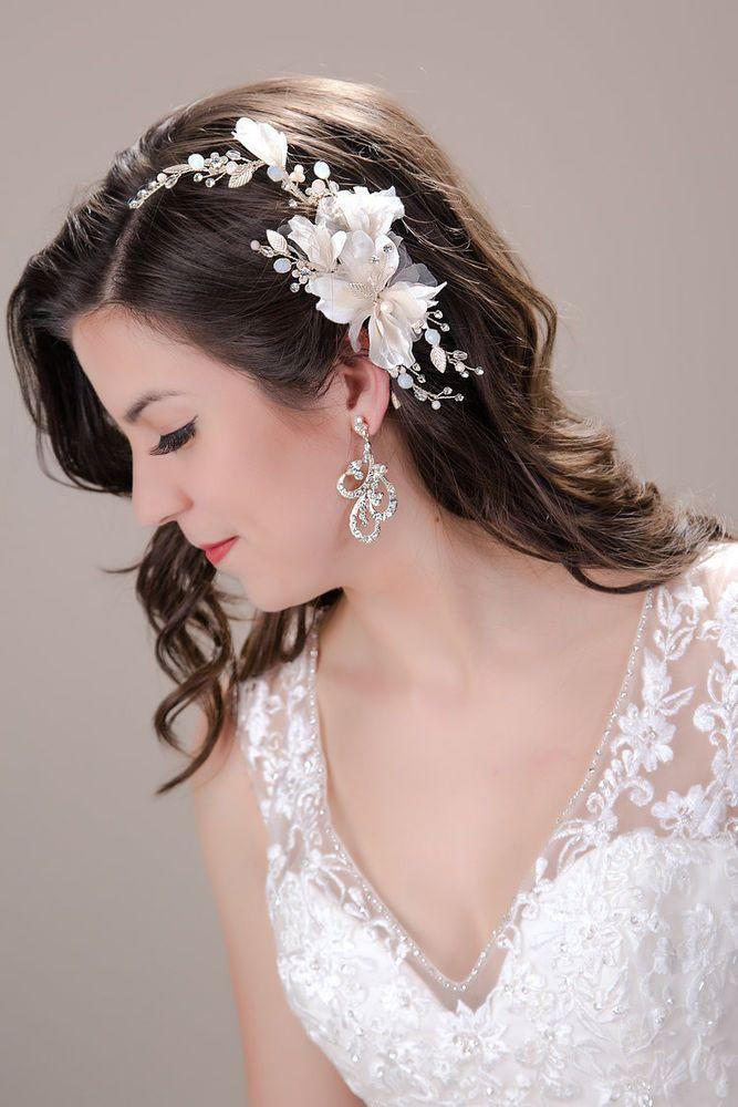 White Foral Hair Clip Whimsical White Organza Bridal Hair Clip Wedding hair piece Bridal headpiece Silver Bridal hair piece