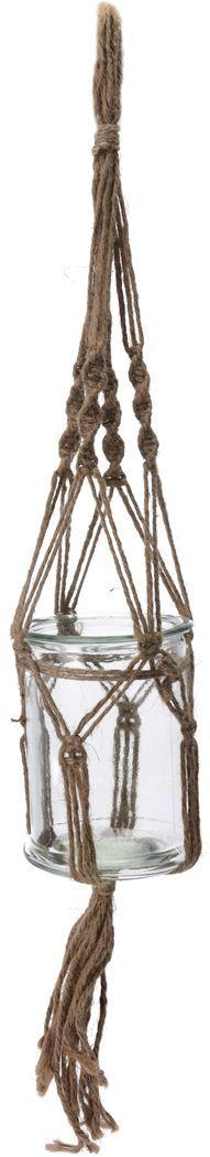 macrame bloempot glas met touw - Tuincentrum Pelckmans