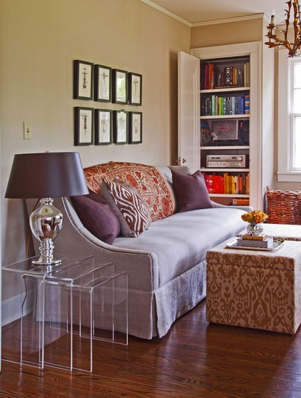 Eclectic Living Room By Coveted Home. Sofa Style And Lucite Nesting Tables.
