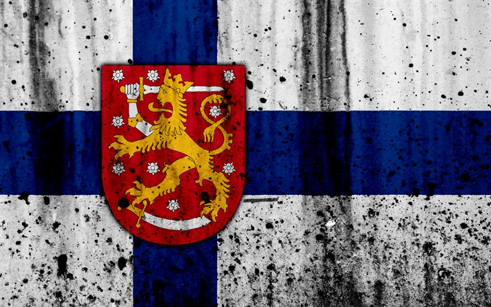 Download wallpapers Finnish flag, 4k, grunge, flag of Finland, Europe, national symbols, Finland, coat of arms of Finland, Finnish coat of arms