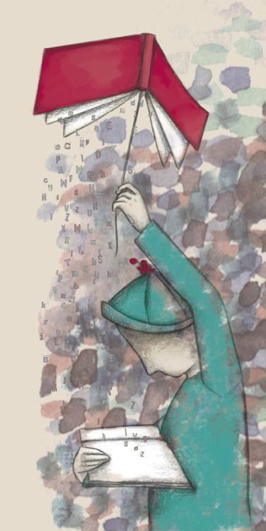 Raining words between readings / Llueven palabras entre lecturas (ilustración de Jessica Piqueras)