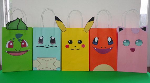 Pokemon Party Ideas- Favors - treat/ candy bags Pokemon cake decoration. Pokemon cupcake toppers/ labels/ goodie bags/ pokemon fiesta/ festa/ printable favors/ goody bags/ pokeball poke ball/ pokemon banner/ pokemon balloons/ pokemon candy table/ pokemon plates pokemon decor ideas/ pokemon candies/ pokemon invite/ pokemon invitation