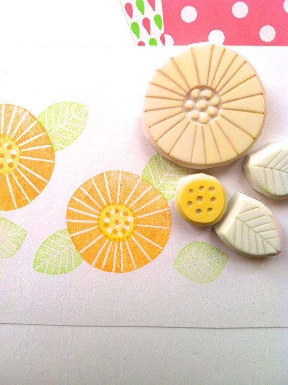 FLOWER hand carved rubber stamp. hand carved stamp. margaret flower stamp. set of 4.