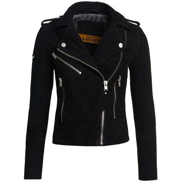 Superdry Lux Suede Biker Jacket (£195) ❤ liked on Polyvore featuring outerwear, jackets, tops, coats, coats & jackets, black, women, biker jacket, zip front jacket and suede motorcycle jacket