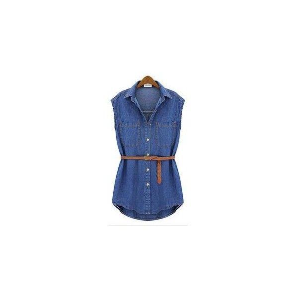 Sleeveless Denim Shirt ($21) ❤ liked on Polyvore featuring tops, shirts, women, blue shirt, sleeveless tops, sleeve less shirts, sleeveless denim top and blue top