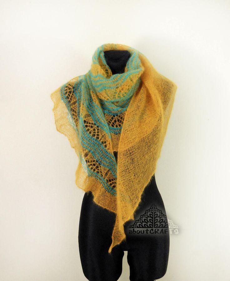 Mustard yellow shawl, Asymmetrical shawl, Mohair knit shawl, Mustard knit scarf, Knitted lace shawl, Bridal lace shawl, Bridesmaid shawl, by aboutCRAFTS on Etsy