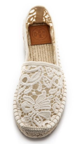 Tory Burch Crochet Espadrilles. Pair these ones with shorts and white shirt and you are ready to go :)