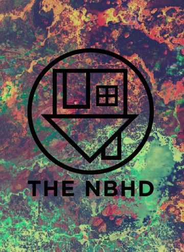 The Neighbourhood band logo. THE NBHD logo. Green, pink and orange splatered paint Wallpapers Backgrounds. I take requests!
