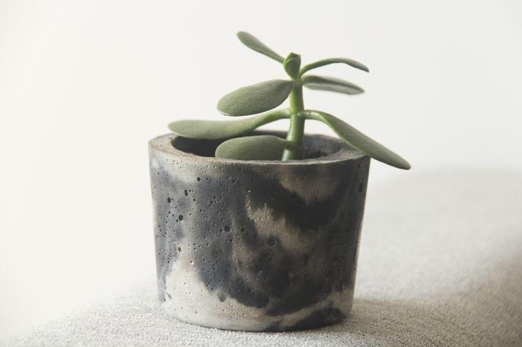 Maceta en concreto 100% handmade marmolada.Con suculenta