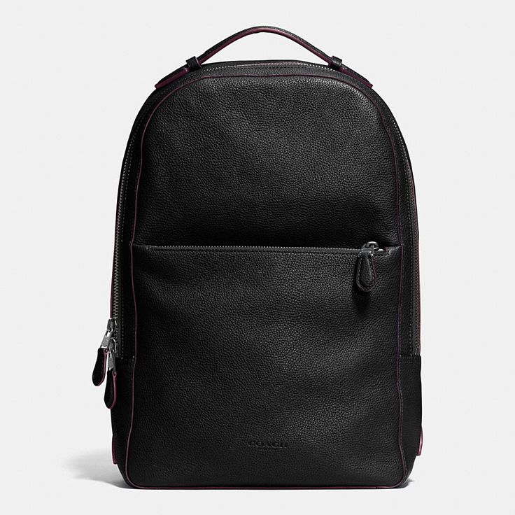 Optimum function meets streamlined style on this new Coach backpack. Crafted in handsomely pebbled leather, it sports a modern slim profile with dedicated space for a laptop, additional pockets for essentials inside and adjustable straps for comfort.