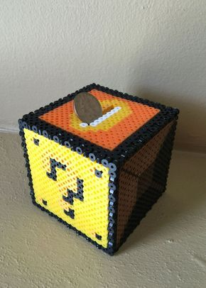 Mario Brother Inspired 8 Bit Cube Bank via eb.perler. Click on the image to see more!