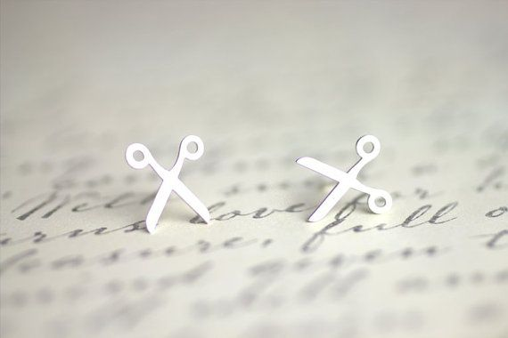 Scissor Studs, Hair stylist gift, Hairdresser gift, Crafter gift, cut and paste, scissor earrings, sterling silver posts