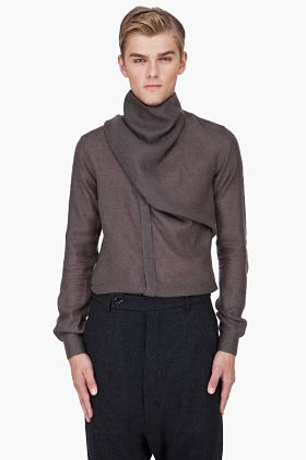 RICK OWENS Charcoal Cashmere Wrap Cardigan