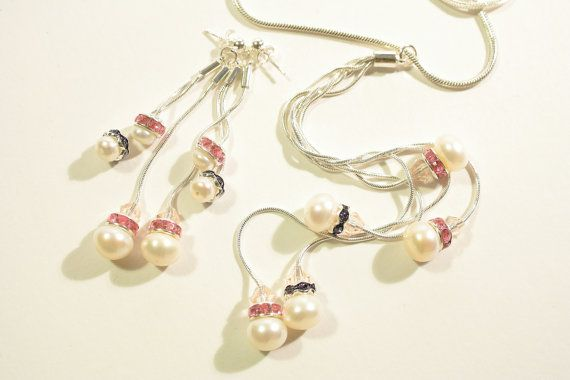 Necklace & Earring Set with Freshwater Pearls and 925 Sterling Silver snake chain - £45.00 with FREE Delivery!