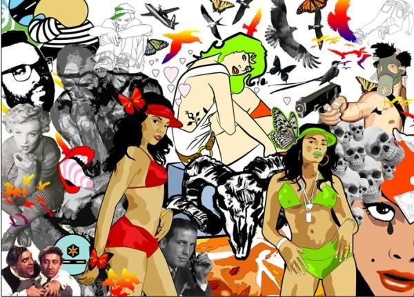 illustration montage of all my old uni work   #comic #illustration #digital #vector #photoshop #illustrator #adobe