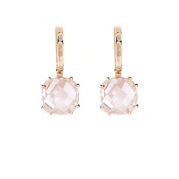 Orecchini in oro rosa con diamante (ct.0,01) e pietra semipreziosa, collezione Santa Fe Ext.