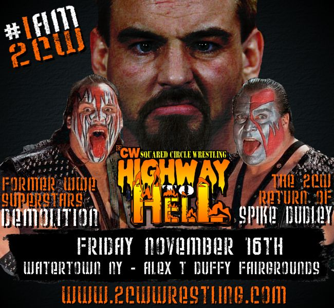 2CW 11/16/12 Highway to Hell Results. From Watertown NY. Demolition! Spike Dudley! Kevin Steen!