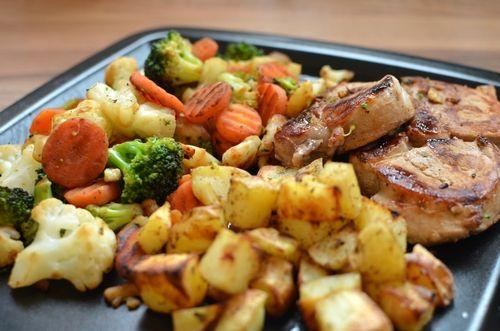 Svinefilét, ovnsbakte poteter og grønnsaker