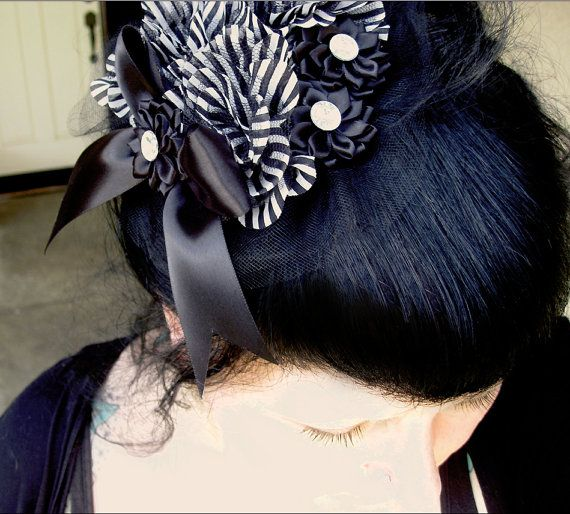 Black and White Stripe Fascinator Hat with a large by Rottengirl, $74.95 The Goblin Market Haunted Holiday San Diego #goblinmarketsandiego