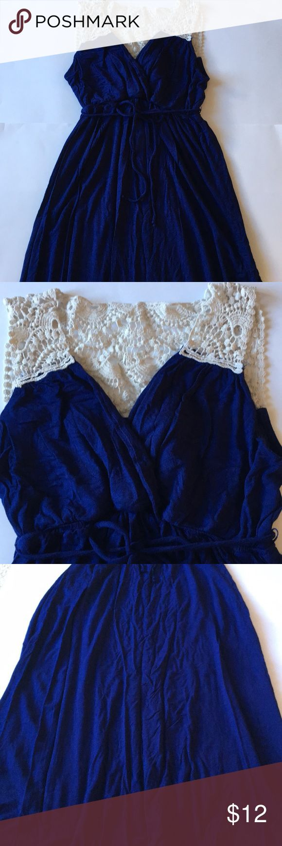 Motherhood Maternity dark blue maxi dress Motherhood Maternity blue maxi dress. Lace shoulder detail and on the back. Bow tie around the high waist, can be taken off. Love this dress!  Great condition. Perfect for Spring or Summer. Size Petite Medium. Motherhood Maternity Dresses Maxi