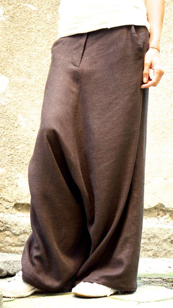 NUEVA colección Harem marrones lino sueltos pantalones extravagantes gota entrepierna Brown pantalones pantalones extravagantes por AAKASHA A05131