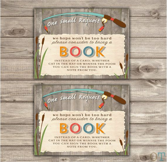 ★★★ Printable Digital File ★★★  ♥ Fishing Book Request Matching Book Request Card Insert  ♥ Matching invitation sold here: