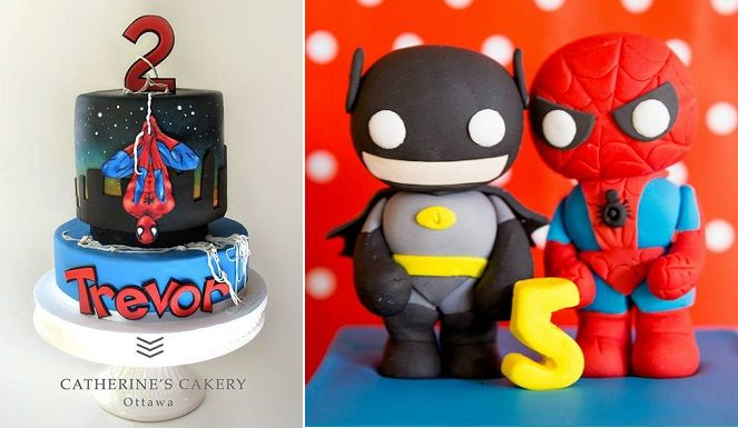 Spiderman cake by Catherine's Cakery, Ottawa left and superhero cake toppers by A Pocket Full of Sweetness right