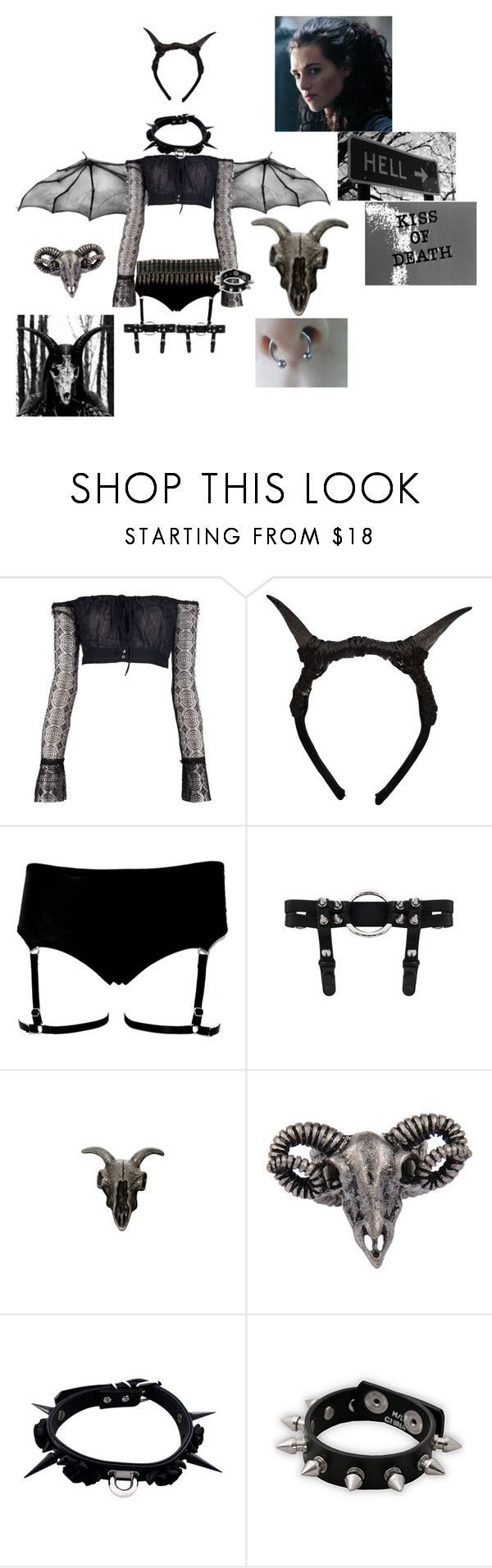 """lucifer girl got the the evil look"" by monsterhex ❤ liked on Polyvore featuring Romeo Gigli, FAUXTALE, AllSaints, Style Tryst and Hot Topic"
