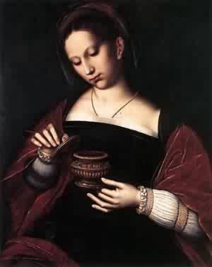 ナルデの香油とマグダラのマリア, Mary Magdalene.  Mary anoints Jesus with expensive oil, from the spike nard plant.