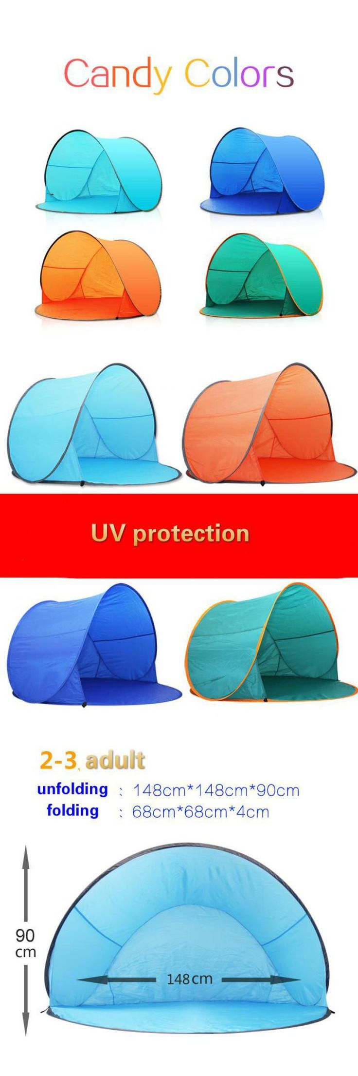 [Visit to Buy] Quick Open Pop Up Beach Awning Fishing Tent Hot Sale Outdoor Camping Hiking Beach Summer Tent Uv Protection Fully Sun Shade #Advertisement