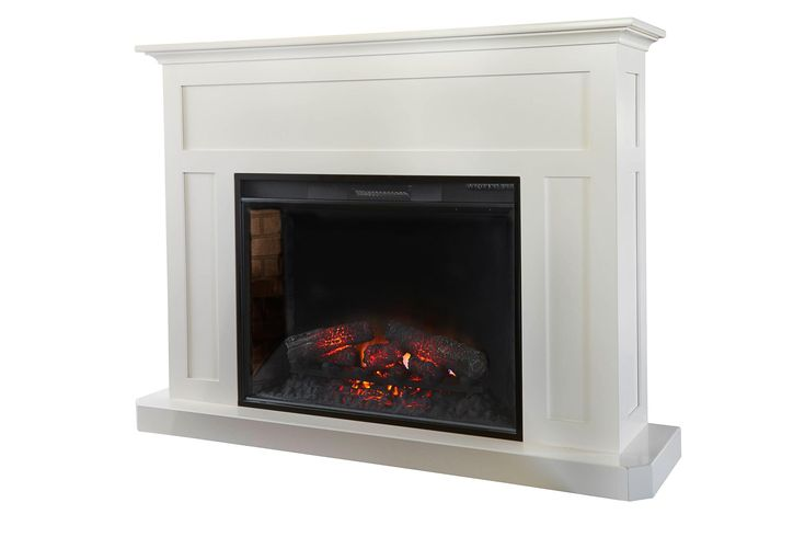 "Amish Fireplace Mantel with 33"" Insert No fumes, no clean up required for this Amish made fireplace."