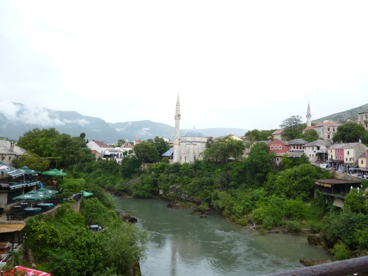 Looking down the river toward the mosques, Mostar, BiH.
