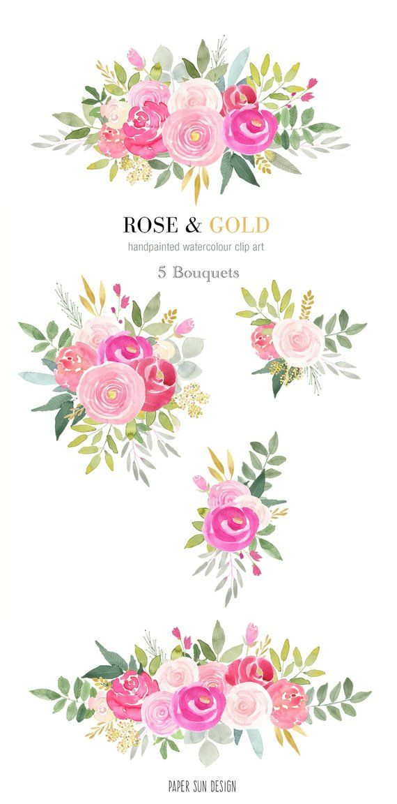 Watercolor Clipart Floral Arrangements In Pink Roses And Gold