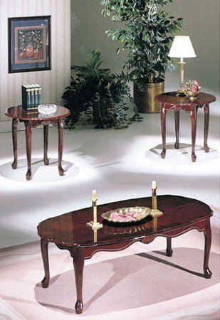 3PC COFFEE TABLE U0026 END TABLE SET CHERRY FINISH  Click Image Twice For More  Info