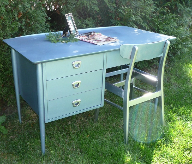 RESERVED for Vetterbl Impala Industrial Retro Desk and Chair. $400.00, via Etsy.