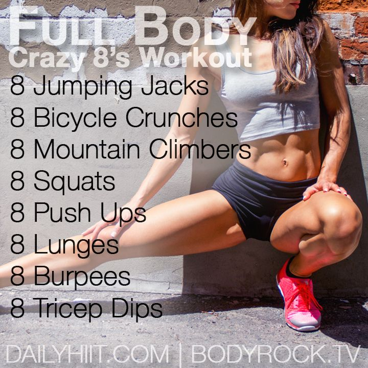Complete each exercise once with 8 repetitions each. Pair this workout with this 10 week workout plan for maximum results! 8 Jumping Jacks 8 Bicycle Crunches 8 Mountain Climbers 8 Squats 8 Push Ups 8 Lunges 8 Burpees 8 Tricep Dips Demos: Burpees: Begin in a standing position. Your feet should be shoulder-width apart. Now, ...