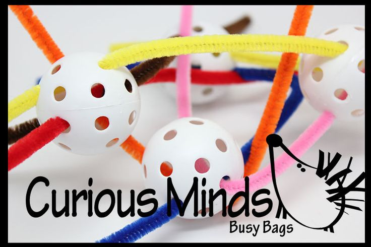 This bag is a fine motor skill bag that encourages creativity.  You get 4 balls and pipe cleaners that can be threaded, bent, woven and manipulated in many ways.  Colors may vary.  These beads are large enough for little hands, but the success rate is high for little ones because there are so m...