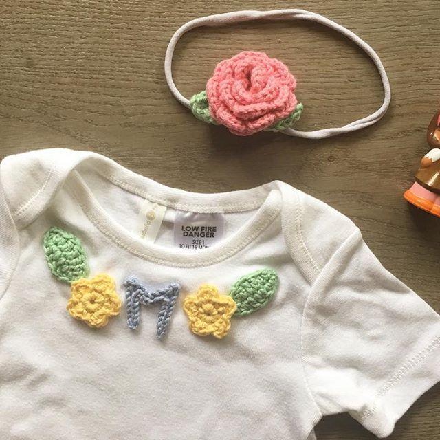 Sweet little onesie for a sweet little girl.  #aydamade #aydamadecrochet