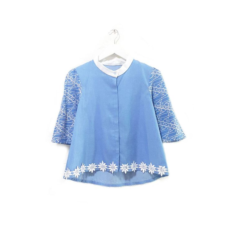 Cobey 001  IDR 455.000  Hand Stamped Batik 3/4 Sleeve on Soft Jeans Shirt Blouse with Flower Brocade  Length of Blouse: approx. 55 cm  Material Used: Hand Stamped Batik, Cotton / Soft Jeans Fabric / Flower Brocade  Note : buttons at the front for opening