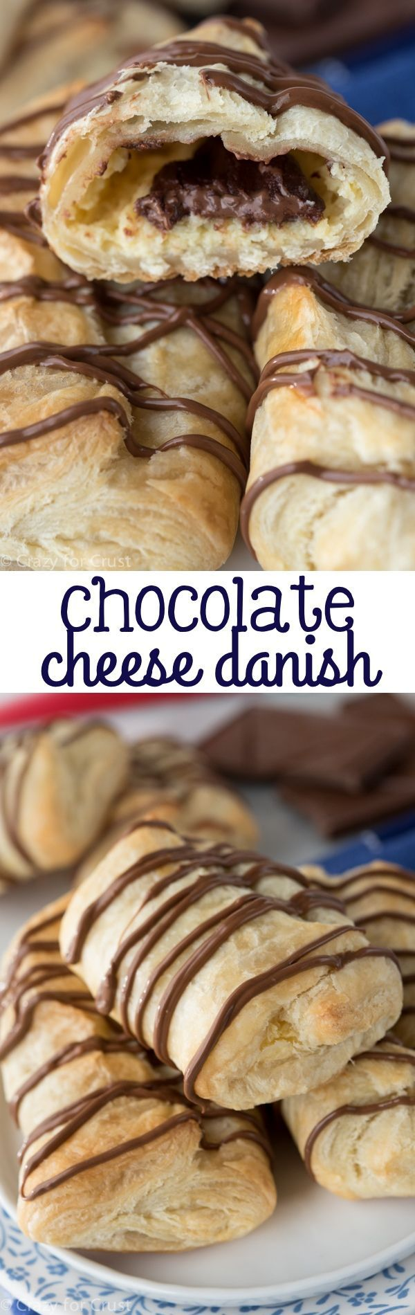 Chocolate Cheese Danish - a mashup of a cheese danish and a chocolate croissant! Have both flavors in one easy breakfast pastry recipe.