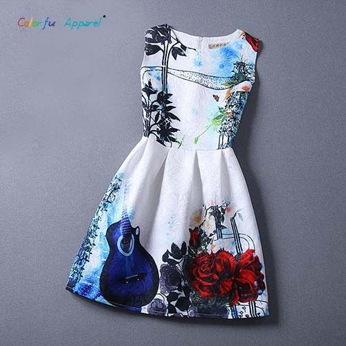 Colorful Apparel Women Printed dress New Summer Women's clothing tropical Chiffon Pinched Waist Women Clothes