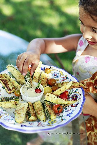 My kids loved these crunchy baked zucchini fries dipped in ranch dressing.