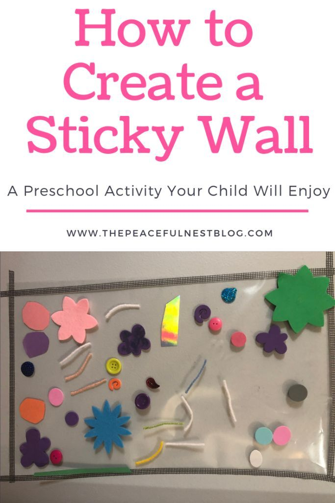 Sticky Wall Fun.  How to create a sticky wall activity for your child. Fun and simple hands on learning activity for your toddler. Preschool activitie…