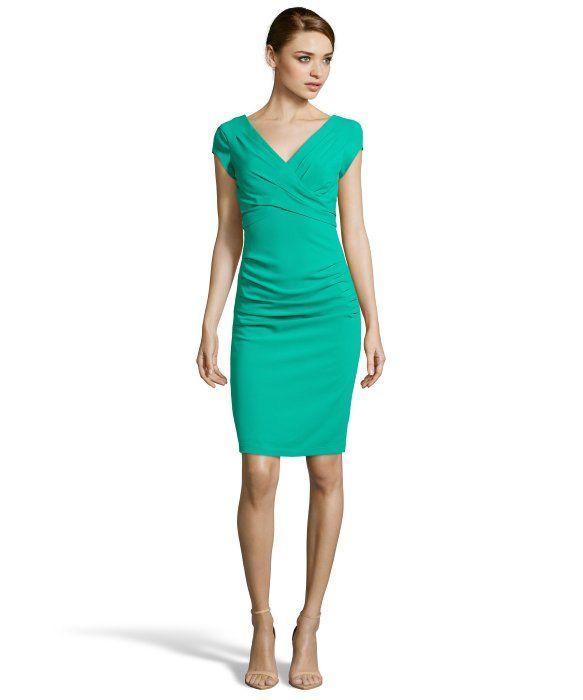 BCBGMAXAZRIA emerald pleated ponte knit 'Vita' cap sleeve dress