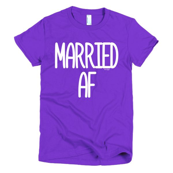 Married AF #beanandjean #dontgiveAF #married  Printed on the American Apparel t-shirt is the smoothest and softest t-shirt you'll ever wear. Made of fine jersey, it has a durable, vintage feel. These classic-cut shirts are known for their premium quality, as well as ability to stand up to a washing machine. The shirts are 100% fine jersey cotton, (the heather grey 90% cotton/10% polyester). This women's t-shirt is made form-fitting to flatter a woman's curves. Ethically made in the USA