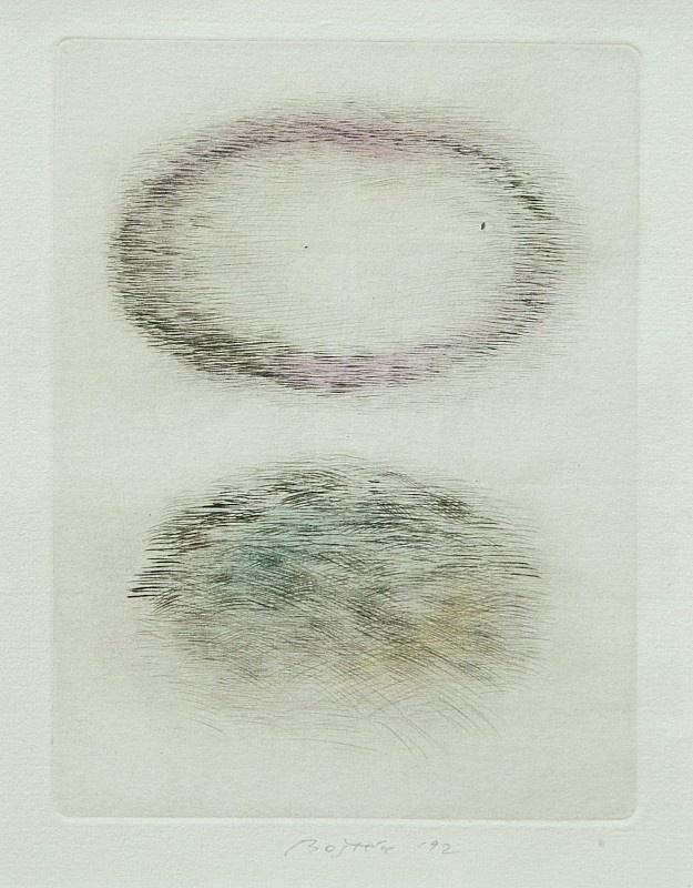VÁCLAV BOŠTÍK (1913-2005)  Večerní mraky  suchá jehla, pastel, 1992, 17,5 x 13,2 cm, sign. DU Boštík 92, rám, žák W. Nowaka na AVU v Praze, člen Umělecké besedy, později UB 12 a Nové skupiny  Vyvolávací cena: 8000 CZK   PRVNÍ PODÁNÍ UKONČENO:   21.03.2013 10:00Aktuální cena: 8000 CZK (320 €)   Poslední dražitel: NEDRAŽENO