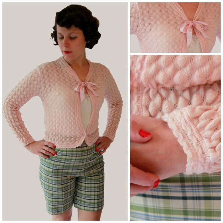 Lovely 1950s Pink Wool Waffle Bed Jacket by fridalarsensvintage on Etsy