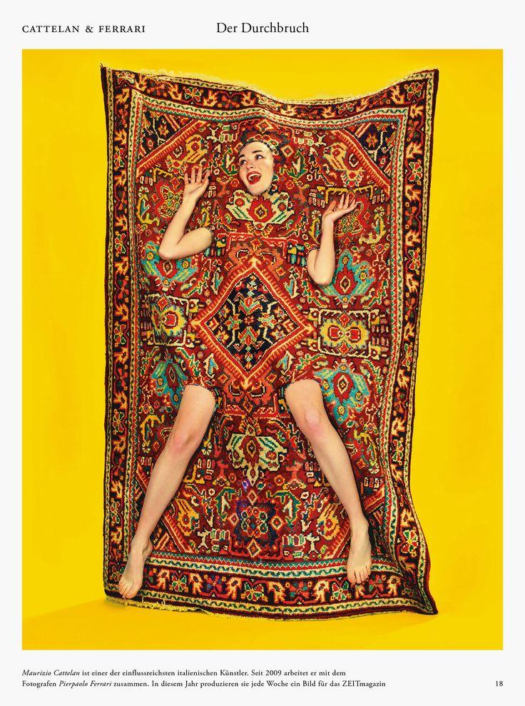 Seletti wears ToiletPaper, Rectangular Rug Lady on Carpet