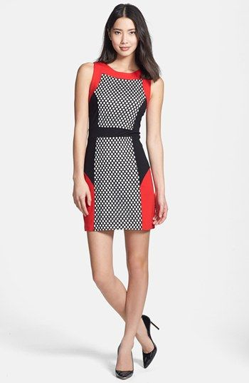 kensie Mesh Colorblock Ponte Sheath Dress available at #Nordstrom