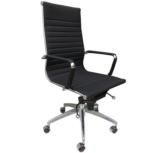 Lexa standard thin pad office chair features: - Multi-lock mechanism - Gas list and tilt adjustment - Tension adjustment control for tilt - Polished arms with arm pads - Polished aluminium 5 star base - black synthetic soft leather upholstery - Full 5 year warranty